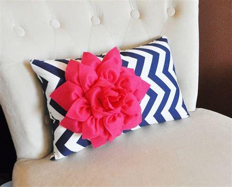 pink chevron bedroom chevron lumbar pillow hot pink dahlia on navy blue and white zig zag