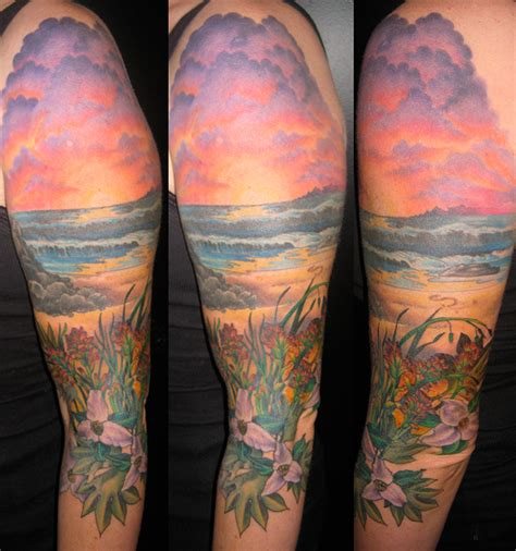 beach sleeve tattoo sunset on the tattoomagz