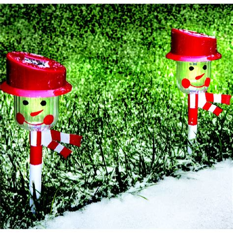 new set of 2 christmas holiday snowman solar powered
