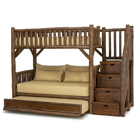 on bunk bed rustic bunk bed with trundle and stairs 4690l 4692r