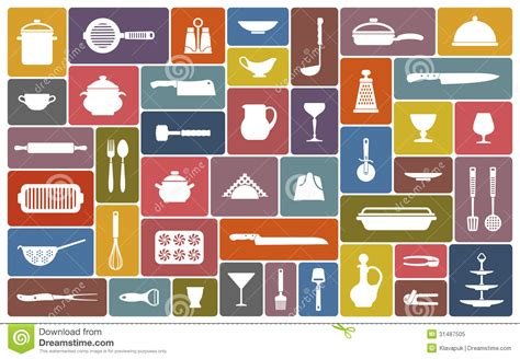 Cooking icons stock vector. Image of illustrations