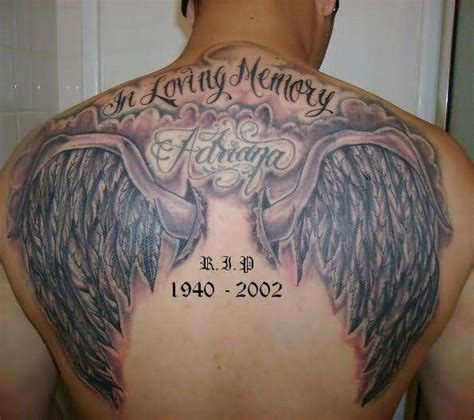 angel wings memorial tattoo back tattoos and designs page 94