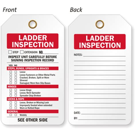 2 sided ladder inspection status tag sku tg 0658