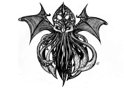 winged cthulhu tattoo design by mesalia