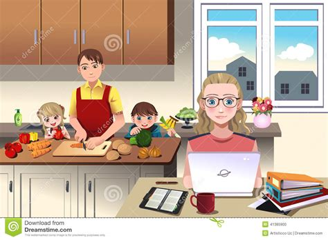 modern family at home stock vector image 41385900