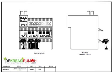 desain gambar kerja asrama sekolah 3 lantai ide kreasi rumah