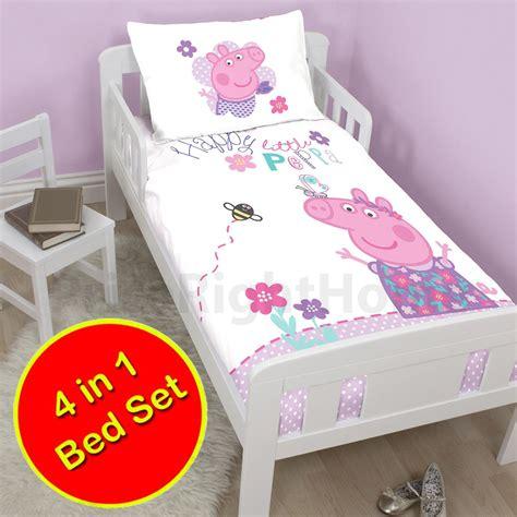 Peppa Pig Cot Bed Duvet Set Peppa Pig Happy 4 In 1 Junior Bedding Bundle Cot Bed Toddler Duvet Ebay
