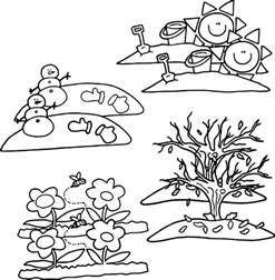 4 seasons cartoon coloring page wecoloringpage