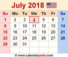 July 2018 Calendar With Holidays July 2018 Calendars For Word Excel Pdf