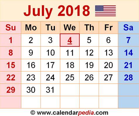 Kalender Juli 2018 July 2018 Calendars For Word Excel Pdf