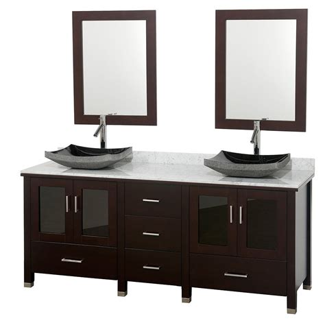 White carrera marble top double sink vanity set by wyndham collection
