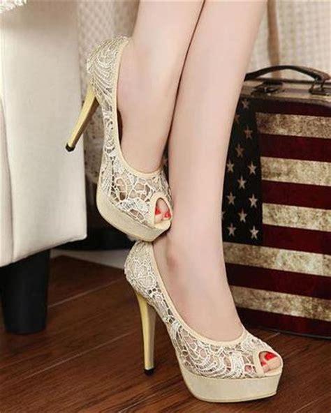 High Heels Valencio Krem Krem Renk Dantel Ince Topuklu Ayakkab箟 Modeli Moda