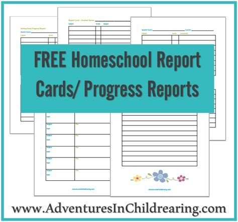 free homeschool progress report report card printables