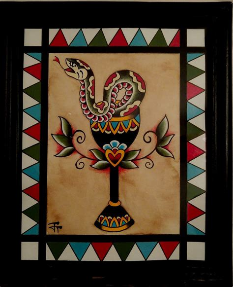 folk art tattoo traditional american snake in chalice shop flash