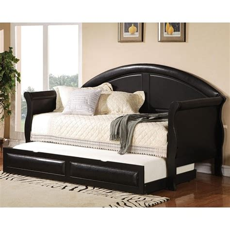 twin size day bed coaster 300114 black twin size leather day bed steal a