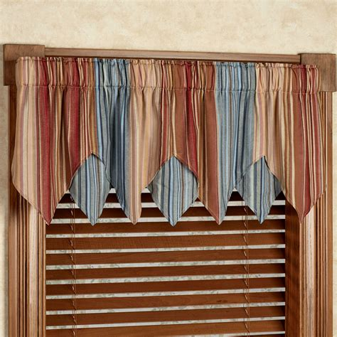 window curtain valances katelin striped layered window valance
