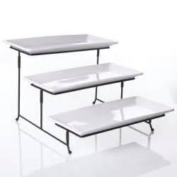3 tier serving stand chefland 3 tier rectangular serving platter cake tray stand display plate rack ebay