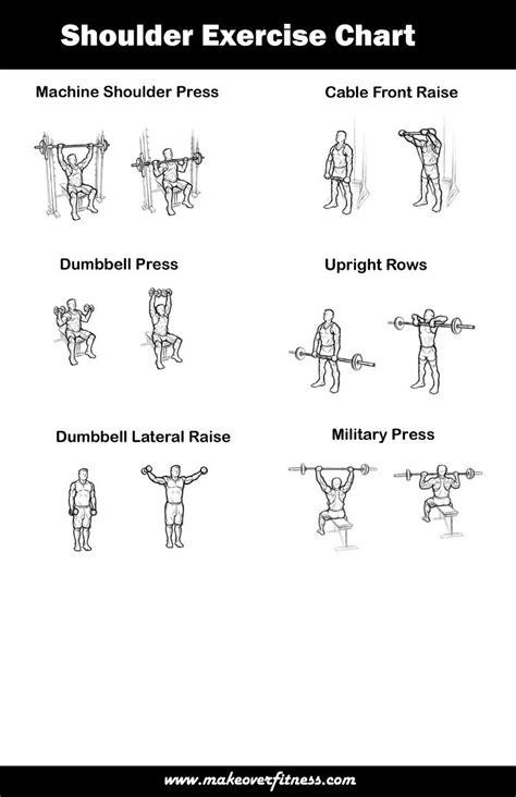 printable exercise poster printable shoulder exercise chart exercise charts