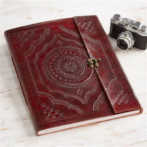 Handmade Leather Photo Album - handmade indra x large embossed leather photo album by