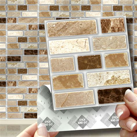 Tile Decals For Kitchen Backsplash by 18 Peel Stick Amp Go Stone Tablet Self Adhesive Wall Tiles