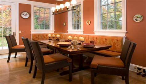 Design Ideas For Banquette Table Dining Room Rustic Wood Table With Wood Chairs And Dining Banquette Plus Orange Wall Also