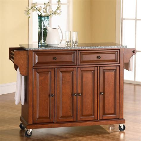 furniture islands kitchen shop crosley furniture brown craftsman kitchen island at