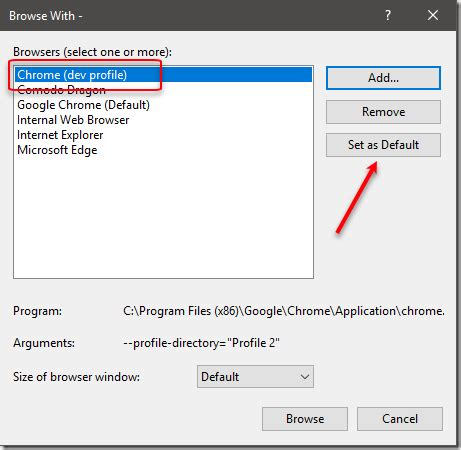 set which chrome profile for visual studio to use