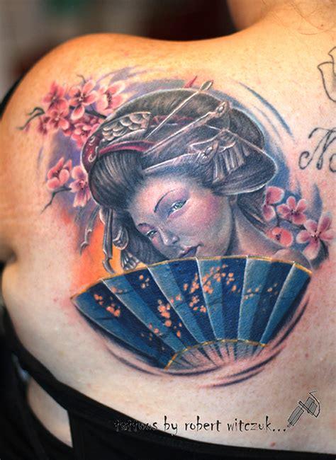 geisha fan tattoo designs elegant geisha face tattoo on right shoulder 187 tattoo ideas