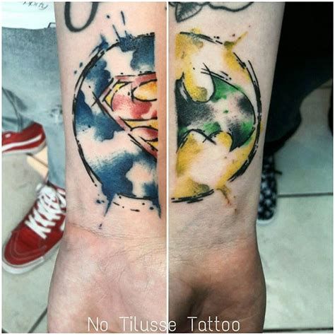 watercolor tattoos vs regular tattoo 26 best superman vs batman tattoos images on
