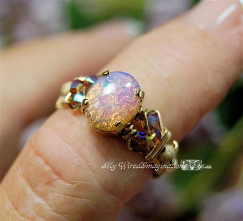 Handmade Opal Rings - dainty pink opal vintage west german glass ring handmade