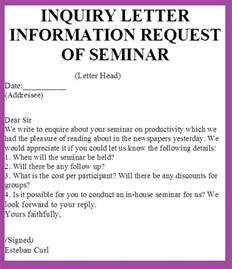 Inquiry Letter Information Inquiry Letter Information Request Of Seminar Definition Business Letter Exles