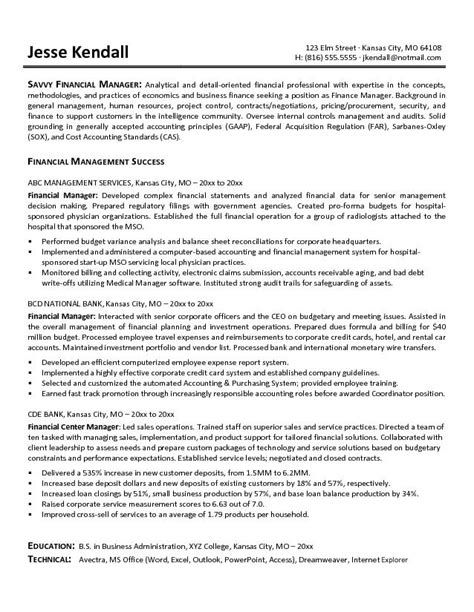 finance resume exles exle financial manager resume free sle