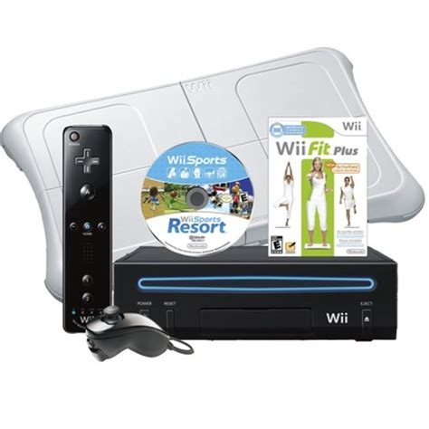 nintendo wii console bundle with wii fit plus pack nintendo wii black console and wii fit plus balance board