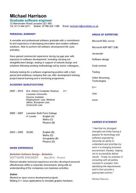 Cv Sles For Fresh Graduates From Engineering Graduate Cv Template Student Graduate Career