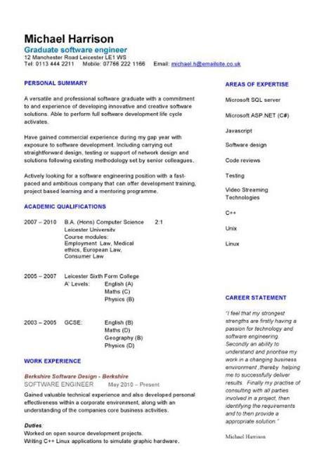 Graduate software engineer CV sample, how to write a CV