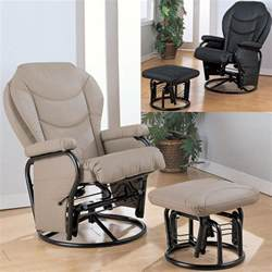 Rocker Glider Recliner With Ottoman Black Bone Leatherette Cushion Swivel Reclining Glider Rocker Recliner Ottoman Ebay