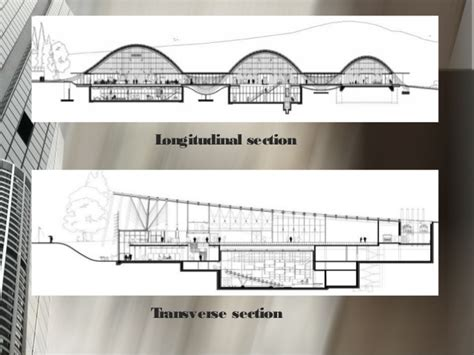 Longitudinal Section Architecture by Architectural Study Renzo Piano