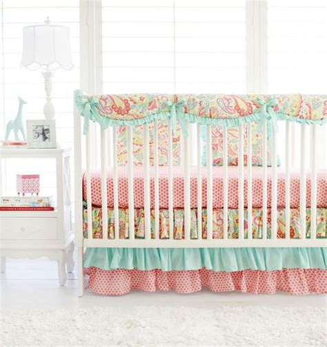 Pink Paisley Crib Bedding Sweet Pink Aqua Paisley Baby Bedding The Adorable Ruffle Crib Skirt And Ruffled Crib