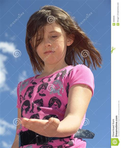 pt models cutechan girl looking at hand stock image image of change