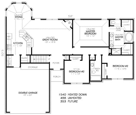 300 sq ft floor plans traditional style house plan 3 beds 2 baths 1540 sq ft