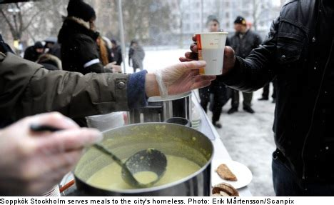 stockholm soup kitchen exposes homeless plight the local