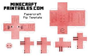 minecraft cut out templates free printable minecraft pig papercraft template print