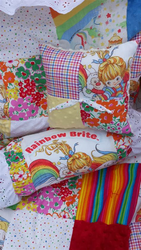 Rainbow Crib Bedding Items Similar To Vintage Rainbow Brite Chenille And Minky Patchwork Baby Bedding Set On Etsy