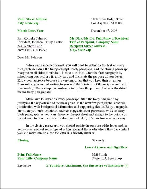 business writing template business letter formatbusinessprocess