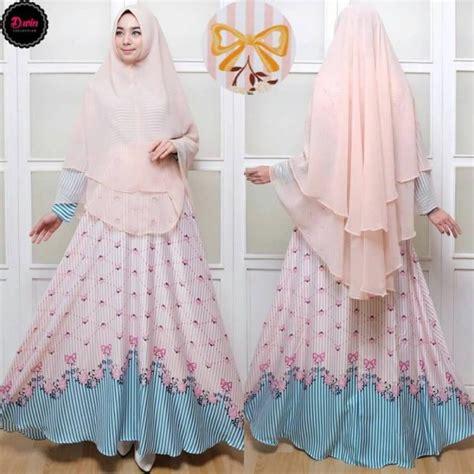 Tuspin Cantik Dan Murah Ribbon Warna Biru Muda gamis syar i maxmara c007 baju muslim cantik terbaru