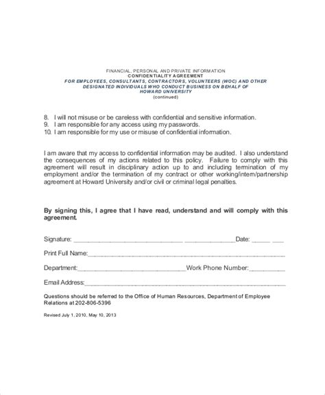 7 Sle Hr Confidentiality Agreements Sle Templates Confidentiality Template Agreement