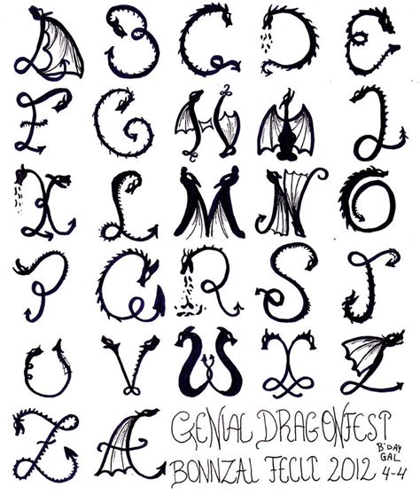 tattoo dragon font bonnzai b day present dragon alphabet by bonnzai on