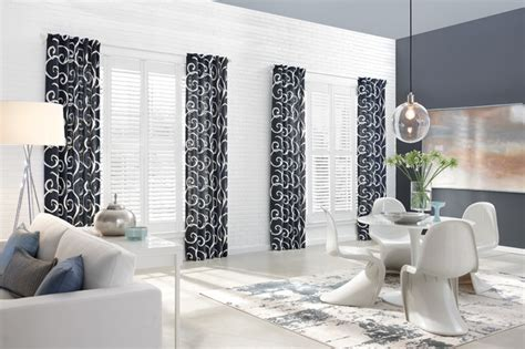 drapes with plantation shutters patterned curtains enhance look of these plantation