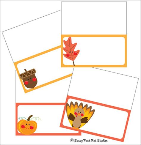 free thanksgiving name card templates the sassy pack rat thanksgiving place card printable freebie