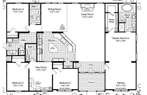 bedroom bath mobile home floor plans ehouse plan with 4 triple wide mobile home floor plans las brisas floorplan